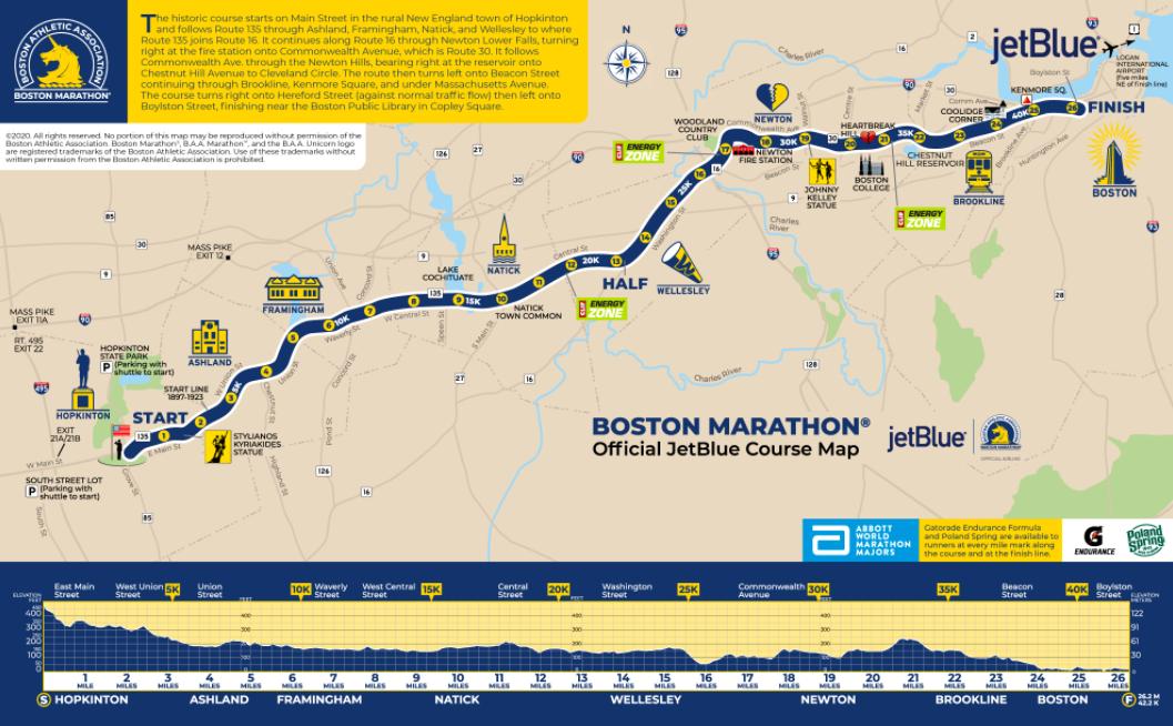 ボストンマラソンのコース地図