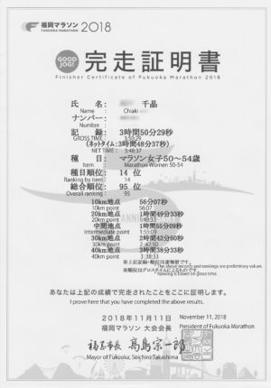 福岡マラソン完走証明書英訳入り