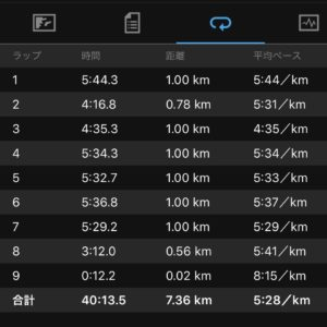 1kmのスピード走