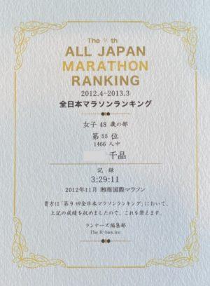 全日本マラソンランキング55位だった2012年