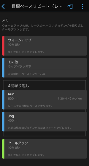 """(600m4'30""""〜4'42""""+400mJOG)×4本のレースペースリピート走"""