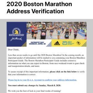 ボストンマラソン事務局からの案内メール