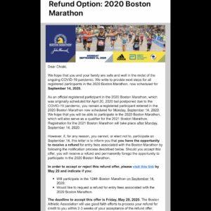 ボストンアスレチックアソシエーションからのメール