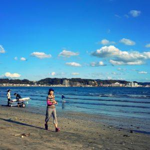 材木座海岸でのんびりジョグ