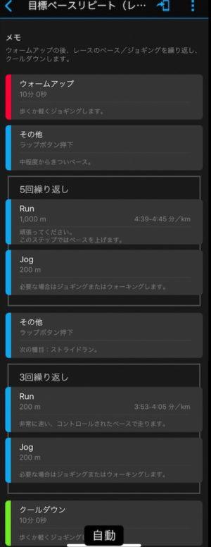 "(1km4'39""〜4'45""+200mJOG)×5本+ (200m3'53""〜4'05""+200mJOG)×3本の目標ペースリピート走"