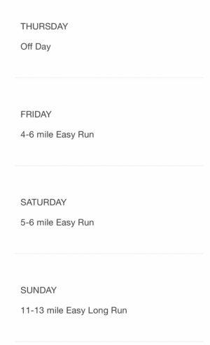 ボストンマラソン公式の20週間トレーニングプラン1週目後半