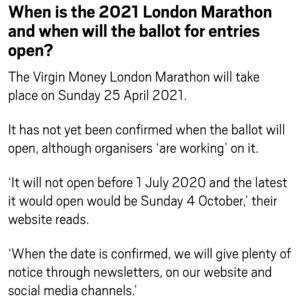 ロンドンマラソンのエントリー時期は?