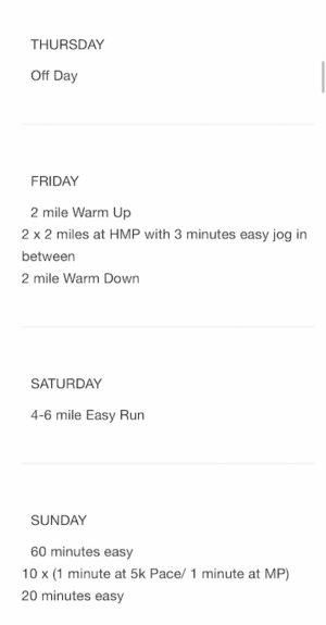 ボストンマラソントレーニングプラン3週目後半