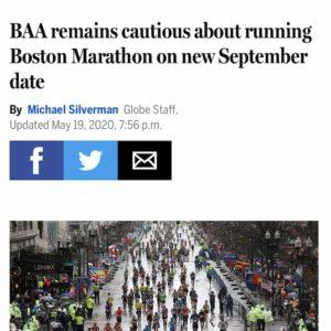 ボストンマラソンについて、「主催者は9月開催に慎重」という報道