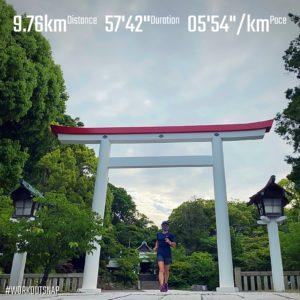 "9.76kmのイージーラン(5'55"")"
