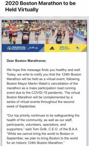 ボストンマラソン中止のメール