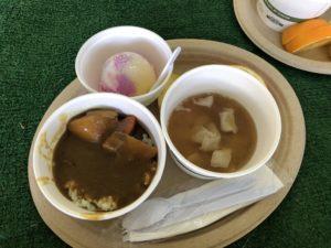 パラダイスキッチンPresentsのパワー回復軽食サービス。カレー、豚汁、フルーツ、アイス