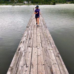 白樺湖をフリーランニング