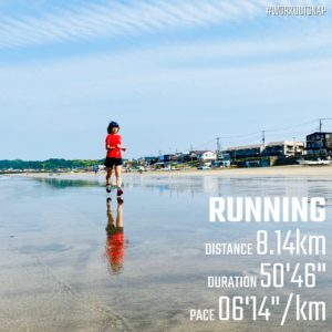 "【8.13kmのイージーラン(6'14"") 】材木座海岸"