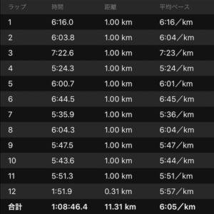 "【11.31kmのイージーラン(6'05"")】"