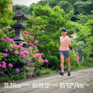 """【6x(4'48""""で上り坂400m + 4'59""""で下り坂400m)】五所神社"""
