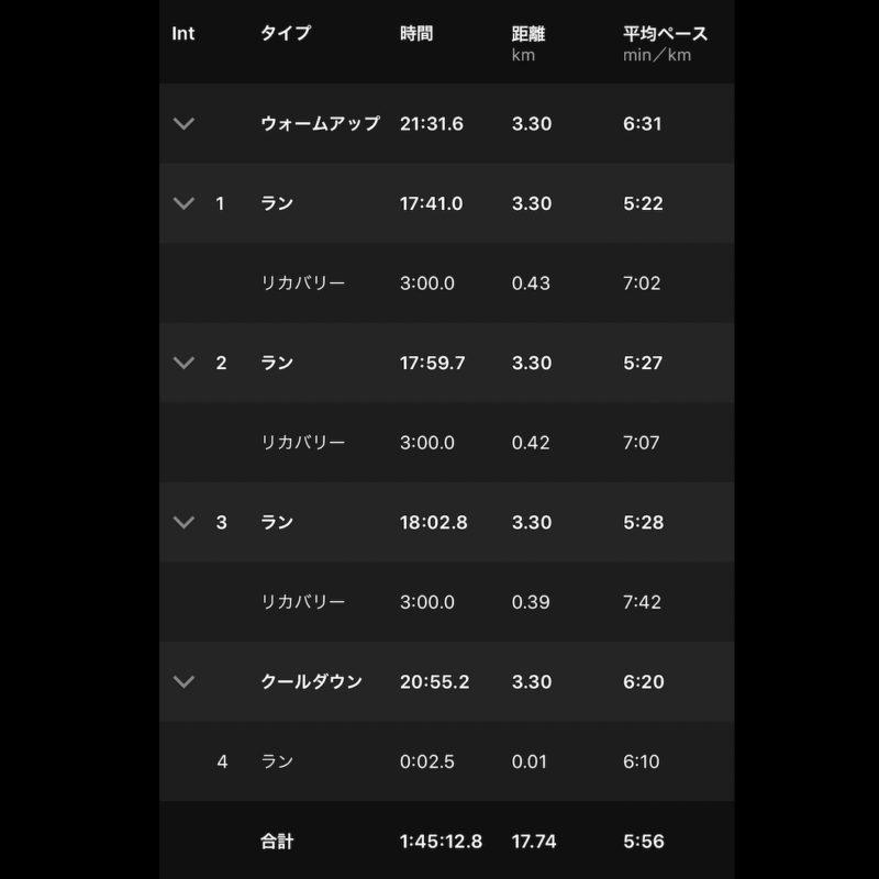 "【3x(5'26""で3.3km)】全体"