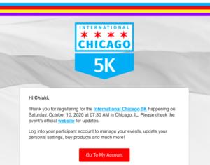 インターナショナルシカゴ5K受付完了メール