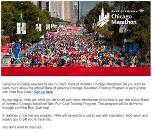 シカゴマラソントレーニングプログラムのメール