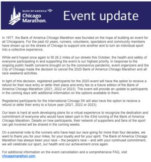 シカゴマラソン中止のメール