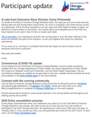 シカゴマラソン新型コロナウイルス (COVID-19) についてのメール1