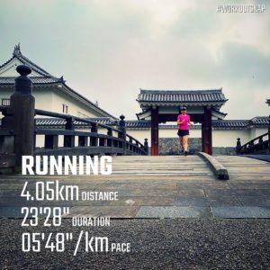 """【4.05kmのイージーラン(5'48"""")】霞城公園"""