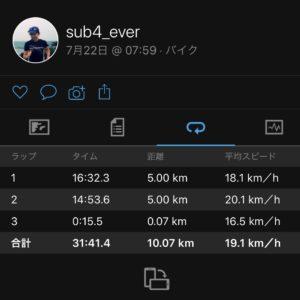 【クロストレーニング:サイクリング31分】