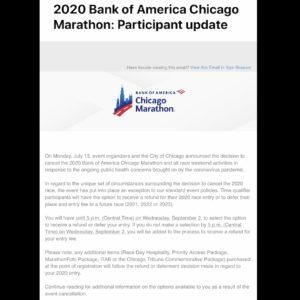 シカゴマラソンの払い戻し手続きメール1