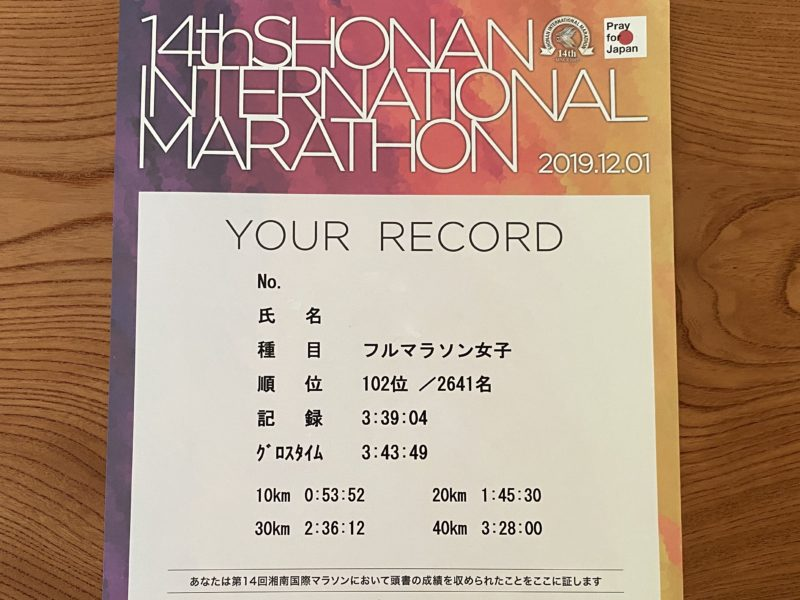 第14回湘南国際マラソンの公式記録はネットタイム