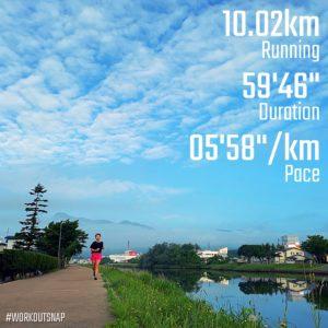 "10.02kmのイージーラン(5'58"")田名部川"