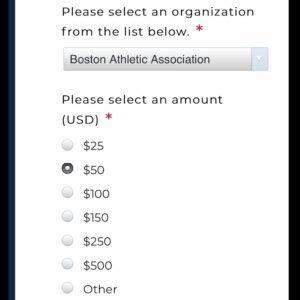 ボストンマラソンバーチャルエクスペリエンスの寄付