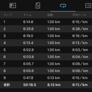 "【8.13kmのイージーラン(6'11"")】"