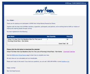 バーチャルTCSニューヨークシティマラソンにエントリー確定メール2