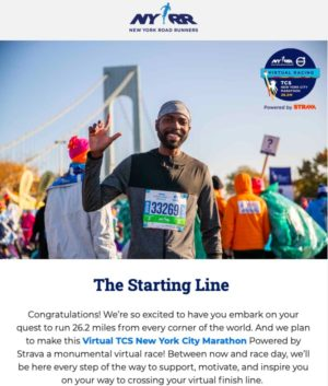 New York Road Runnersからの8月21日のメール