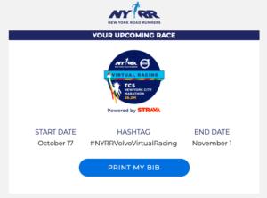 バーチャルTCSニューヨークシティマラソンBIB