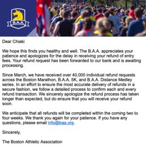 ボストンアスレチックアソシエーション(BAA)からのメール