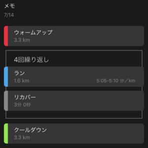 """【4x(5'04""""で1.6km)】ワークアウトメニュー"""