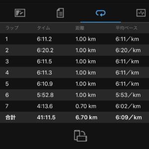 "【6.7kmのイージーラン(6'09"")】"
