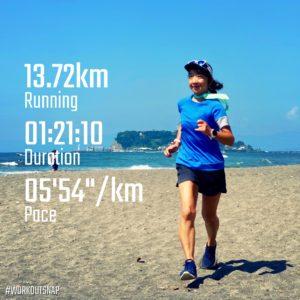 "【2x(5'27""で2km) + 2x(5'03""で1km)】七里ヶ浜"