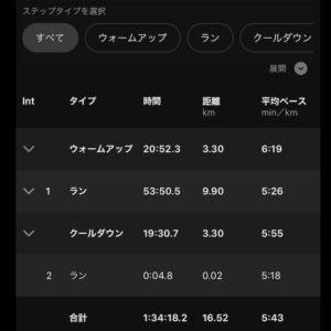 """【3.3kmごとにビルドアップ:5'43""""→5'29""""→5'03"""" 】トータル16.5km"""
