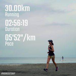 """【マラソンシミュレーション(ローリングヒルコース):12.9kmのイージーラン(6'06"""")  + 12.9kmのマラソンペースラン(5'34"""")  + 3.3kmのイージーラン(6'09"""") 】材木座海岸"""