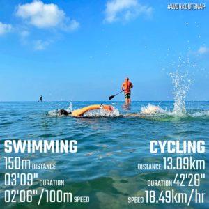 【クロストレーニング:スイミング3分💦&サイクリング40分】材木座海岸