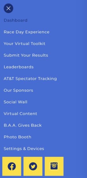 ボストンマラソンバーチャルエクスペリエンスのモバイルアプリのセッティング