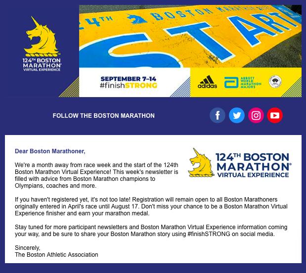 バーチャルボストンマラソンのニュースレター配信