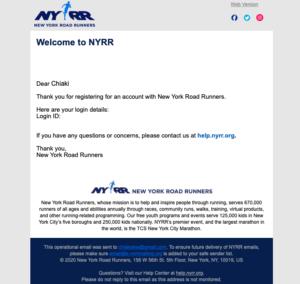 バーチャルTCSニューヨークシティマラソンにエントリー確定メール