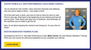 トレーニングプランのコーチ、マーク・キャロルさんのメッセージ