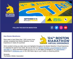 ボストンアスレチックアソシエーション(BAA)よりレースウィークのメール