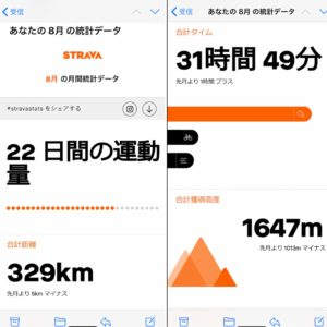 STRAVAの8月統計データ