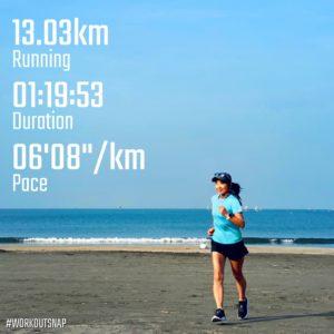 "【5x(5'08""で1km)】材木座海岸"