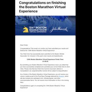 ボストンアスレチック協会から「congratulations!」メール